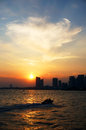 Sea city sunset at china qingdao Stock Images