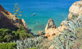 Sea Cliffs at Lagos Algrave Portugal. Royalty Free Stock Photo
