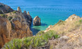 Sea Cliffs at Lagos Western Algarve Portugal. Royalty Free Stock Photo