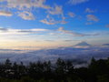 Sea of clouds and the mt fuji ​​clouds view from photo place at amari in early morning Royalty Free Stock Images
