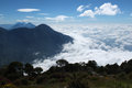 Sea of clouds from the summit the santa maria volcano guatemala central america Stock Image