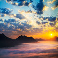 Sea of clouds on sunrise Royalty Free Stock Images
