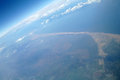 Sea coast of the aerial view from airplane Stock Images