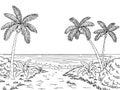 Sea coast graphic black white landscape sketch illustration