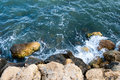Sea coast with rocks blue wit shot from above Royalty Free Stock Photos