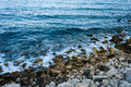 Sea coast with rocks blue wit shot from above Royalty Free Stock Photography