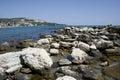 Sea coast row of stone wave breaker Royalty Free Stock Photos