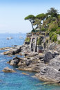 Sea coast viewscape near Bogliasco Stock Image