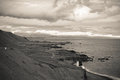 Sea coastline of east iceland horizontal black and white shot Stock Photography