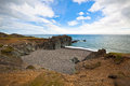 Sea coastline of east iceland horizontal wide angle shot Stock Photos