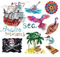 Sea collection with hand drawn marine and pirate elements isolated on white