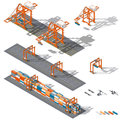 Sea container terminal. Ship-to-shore, and storage containers zone, which is represented the work rtg and sts cranes