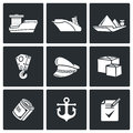 Sea craft icons vector illustration isolated flat collection on a black background for design Stock Photography