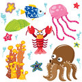 Sea Creatures Cartoon Collection Royalty Free Stock Photo