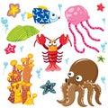 Sea Creatures Cartoon Collection Royalty Free Stock Photo