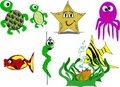 Sea creatures in cartoon style Royalty Free Stock Photo