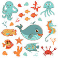 Sea creatures doodles set vector format Stock Photo