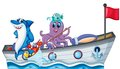 Sea creatures riding on a boat with flag Royalty Free Stock Photo
