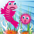 Sea creatures with sea bottom Royalty Free Stock Photo