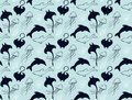 Sea creatures and seashells blue pattern vector