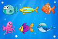 Sea creatures under the deep sea illustration of Stock Photo