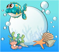 Sea creatures under the sea illustration of Stock Image