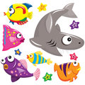 Sea creatures a vector illustration of Stock Images