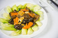 Sea cucumber chinese food black Stock Photos