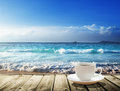 Sea and cup of coffee Royalty Free Stock Photo