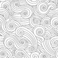 Sea curly wave seamless pattern isolated on white background. Royalty Free Stock Photo