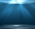 Sea deep or Underwater scene background with sunlight. Royalty Free Stock Photo