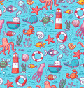 Sea doodles color pattern seamless with creatures and nautical stuff Stock Photo