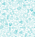 Sea doodles seamless pattern with creatures and nautical stuff Royalty Free Stock Photos