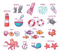 Sea doodles set of isolated with creatures and nautical stuff Royalty Free Stock Photography