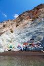 Sea and dry bush rock alone in the sky santorini europe greece Stock Photography