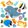 Sea elements and animals illustration beautiful colorful for children Royalty Free Stock Photography