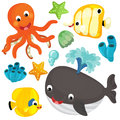 Sea elements and animals illustration beautiful colorful for children Stock Image