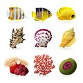Sea Fauna Icons Royalty Free Stock Photo