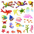 Sea fishes and animals collection eps file simple gradients Stock Photo