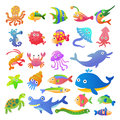 Sea fishes and animals collection eps file simple gradients Royalty Free Stock Photos