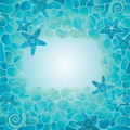 Sea floor card decorative blue with stones starfish and seashells Stock Photography