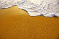 Sea foam closeup of on wet golden sand with copy space Stock Image