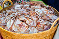 Sea food at market dry calamari selling in thailand Stock Photography