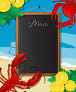 Sea food menu frame with crab and lobster design template can be used for cover flyer sign etc Stock Image