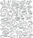 Sea food vector illustration of collection in black and white Stock Photo