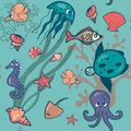 Sea friends pattern funny and colorful Royalty Free Stock Images
