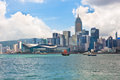 Sea front view with luxurious buildings in hong kong september on september Stock Image
