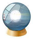 A sea with a fullmoon inside the dome illustration of on white background Stock Photo