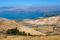 Sea of galilee the northern part the in israel as seen from the golan heights Royalty Free Stock Photo