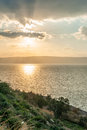 Sea of galilee sunset over the in northern israel Stock Image